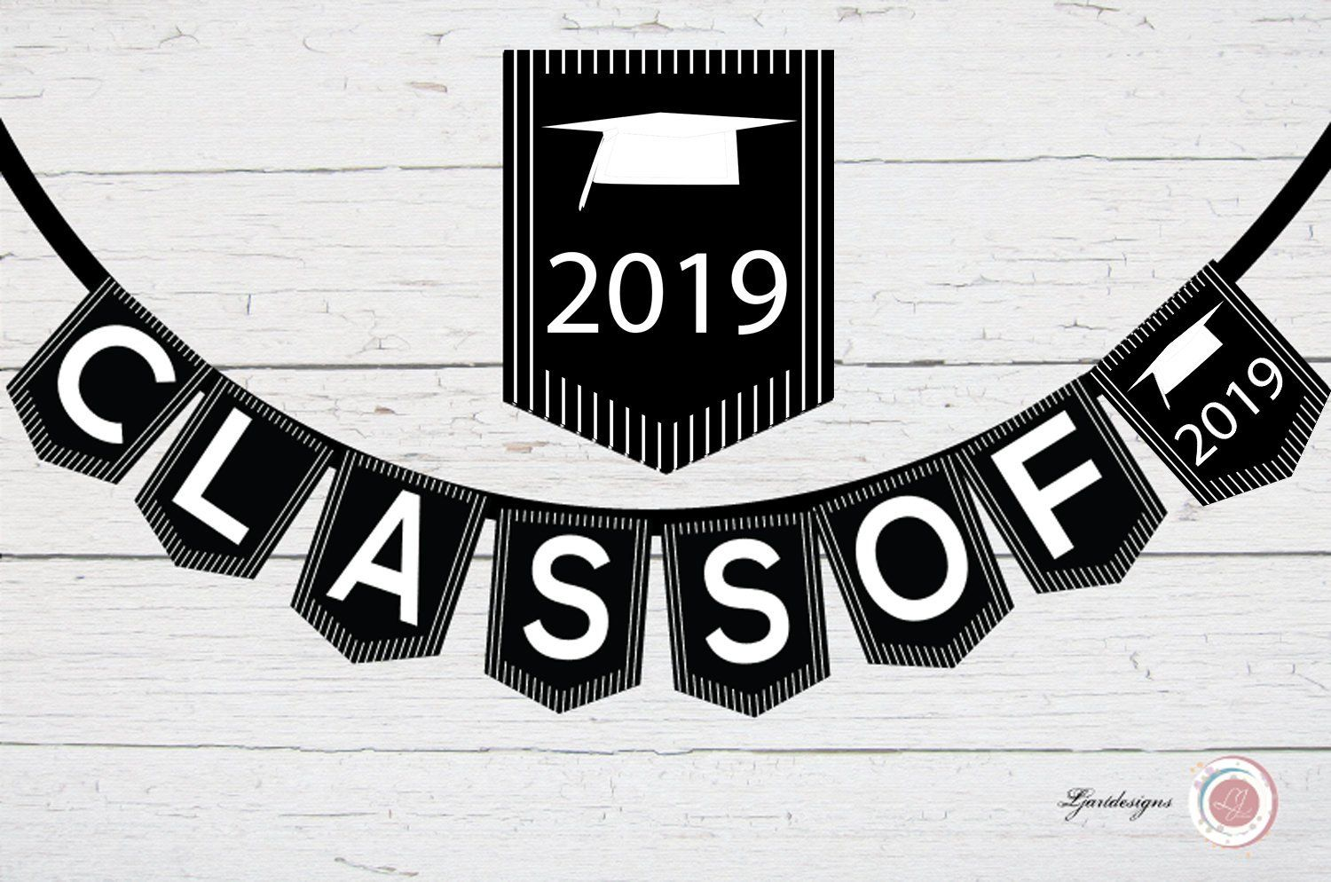 Digital Black and White Striped Graduation Banner, Class Of.