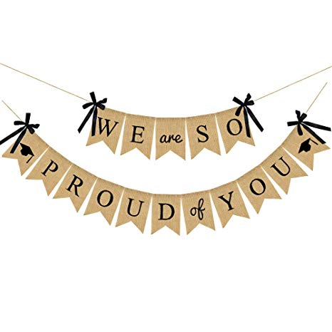 2019 Graduation Party Decorations, Burlap We are So Proud of You Graduation  Banner, Rustic Vintage Burlap Banner with Ribbon Bow, Great for Graduation.