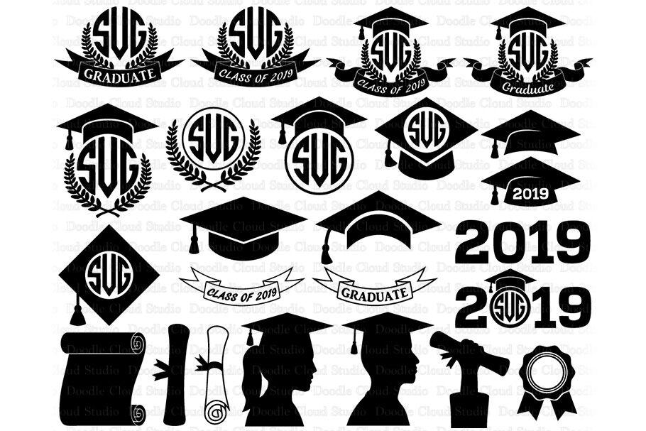 2019 2020 Graduation Monogram SVG, Graduation Hat svg.