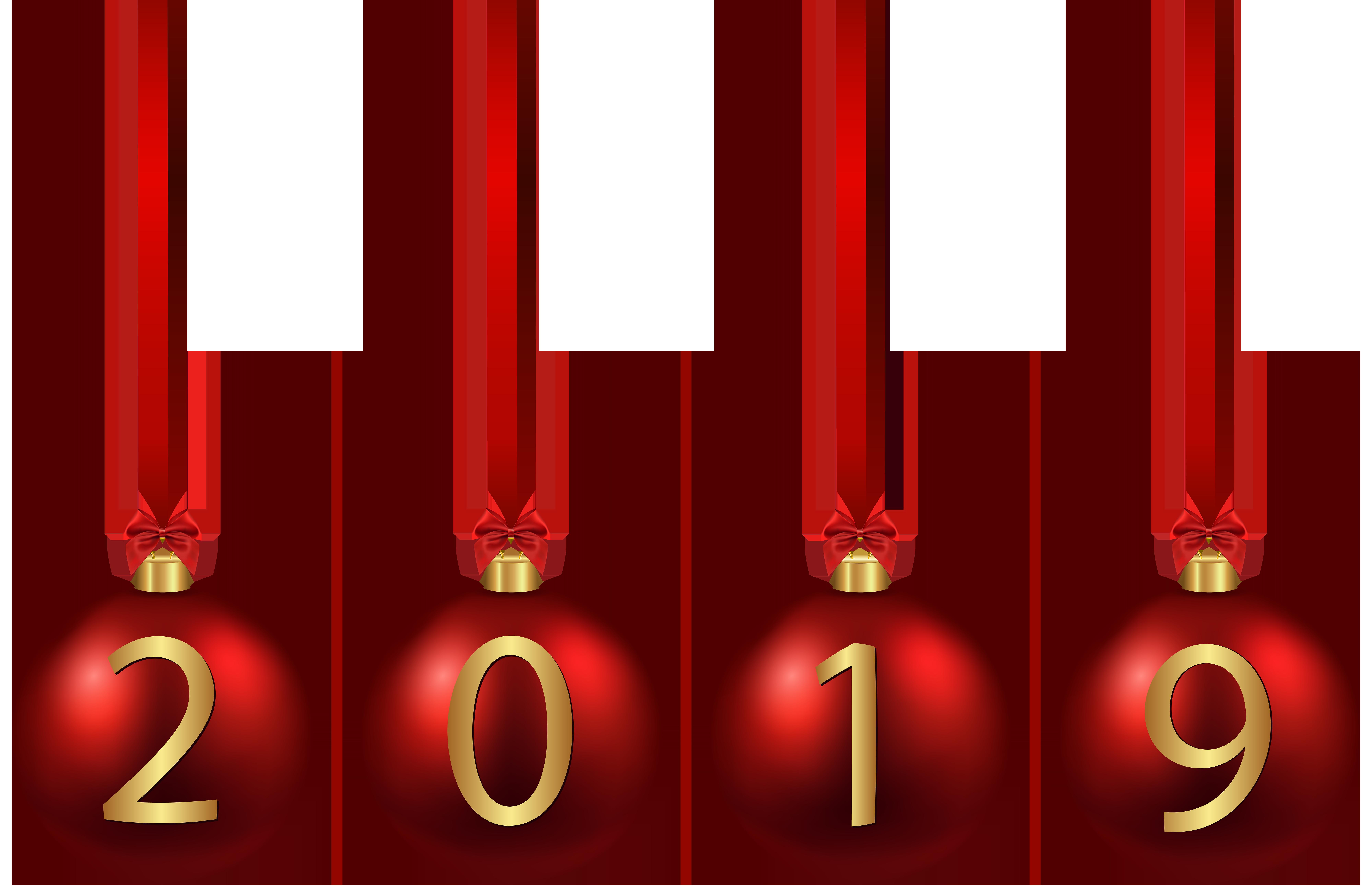 2019 Red Christmas Balls PNG Image.