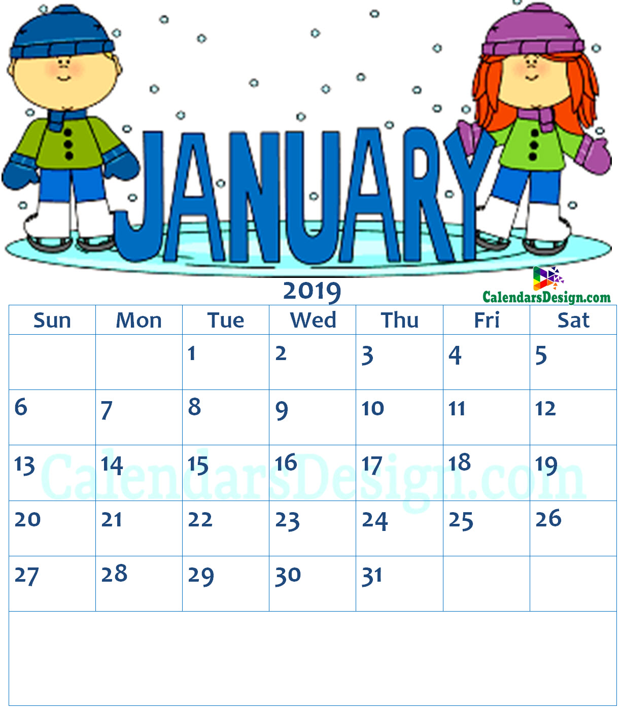 January 2019 Calendar Clipart.