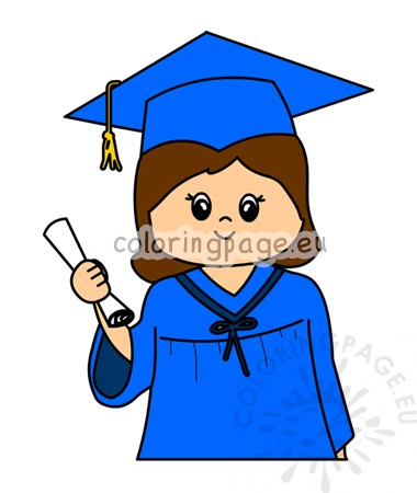 Kindergarten graduation little girl clipart.