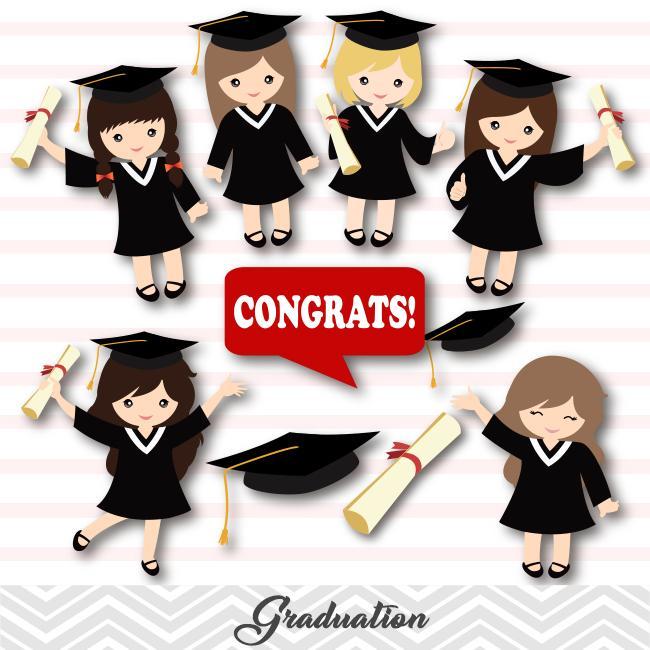 Graduation Girls Clip Art, Girls Graduate Clipart, Preschool Kindergarten  Graduation Clipart, 00202.