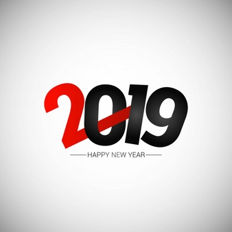 Happy new year 2019 design with white background Vector.