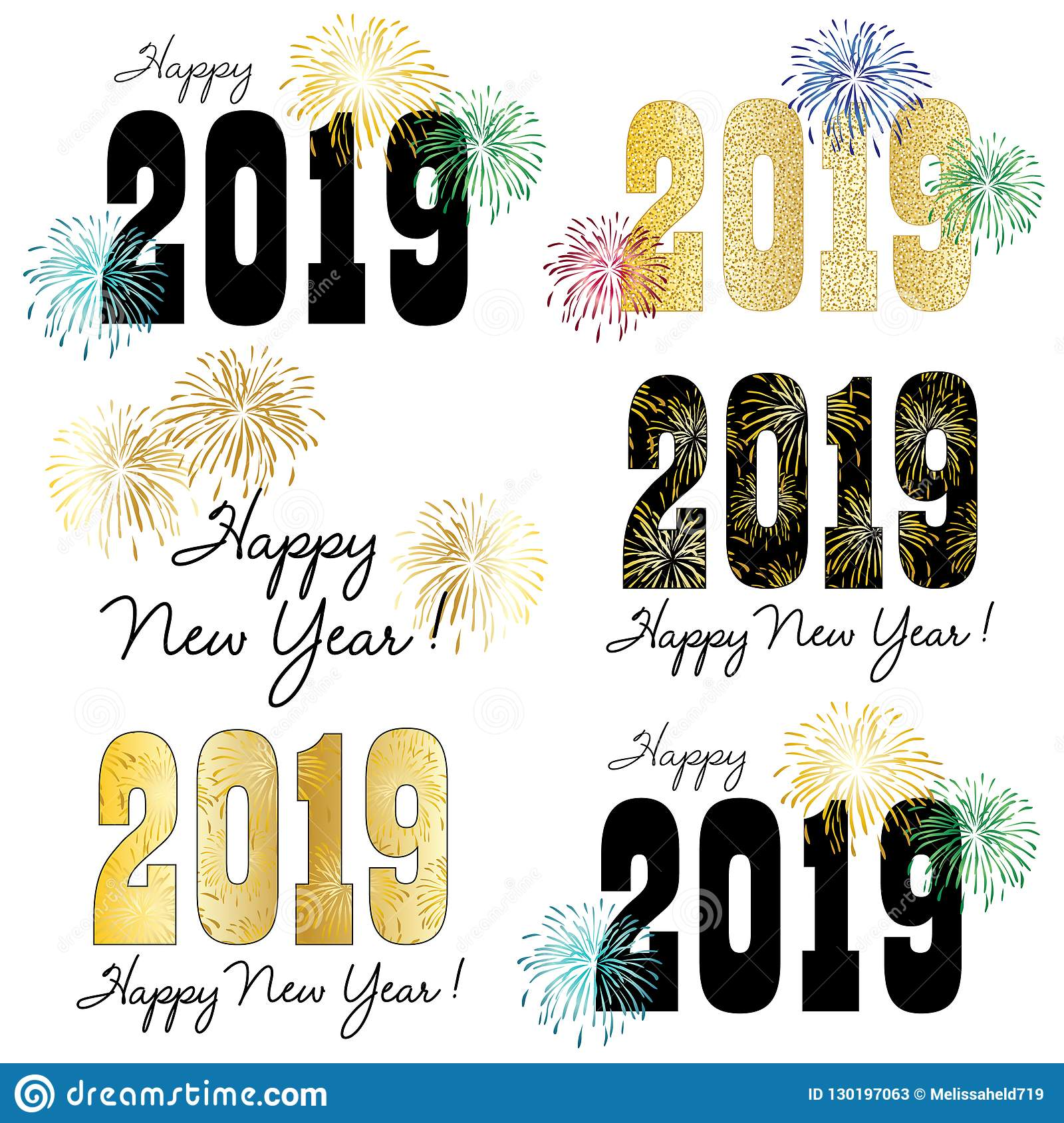 2019 New Years Eve Clipart Graphics Stock Vector.