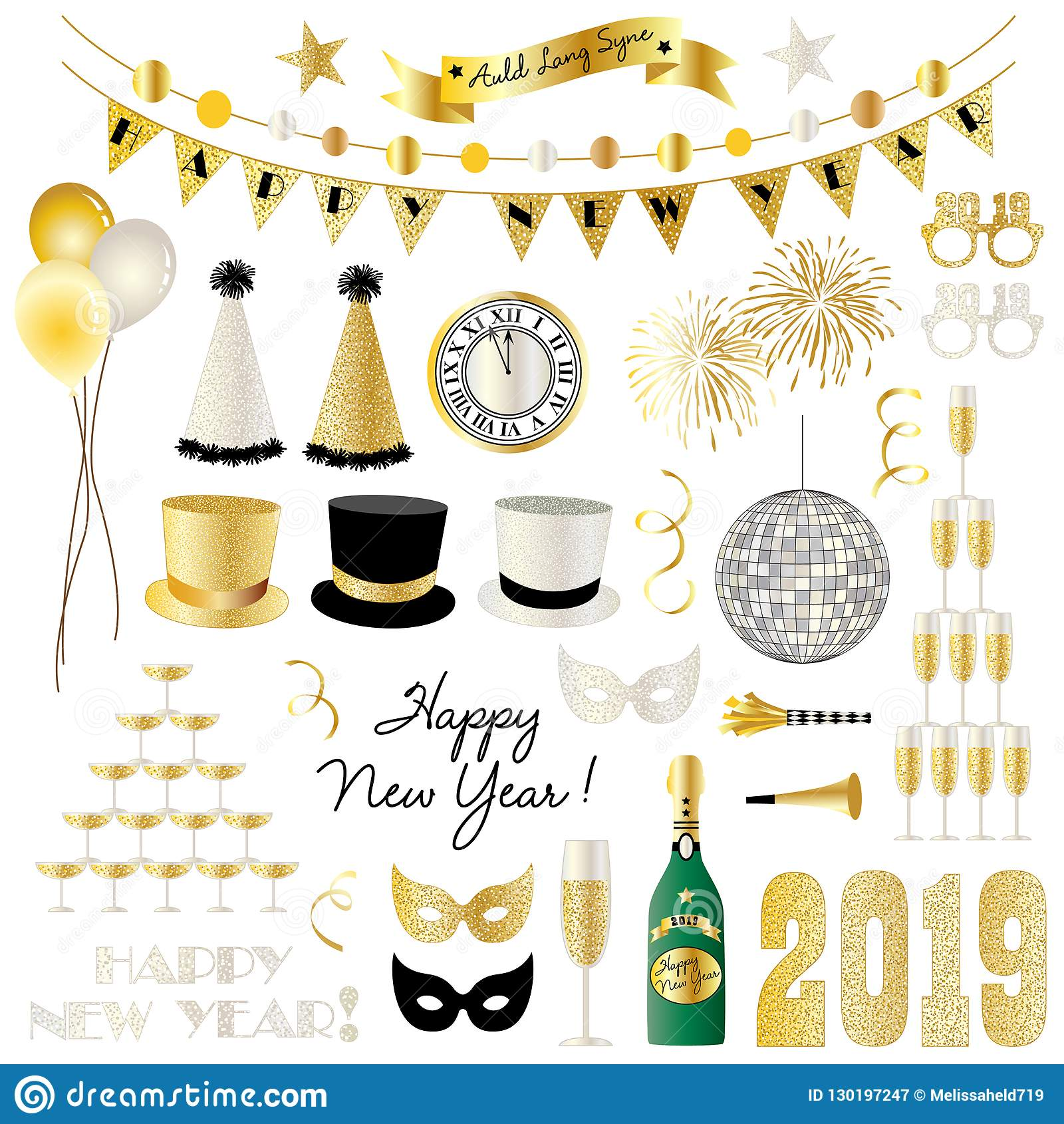 2019 New Years Eve Clipart Graphics Stock Illustration.