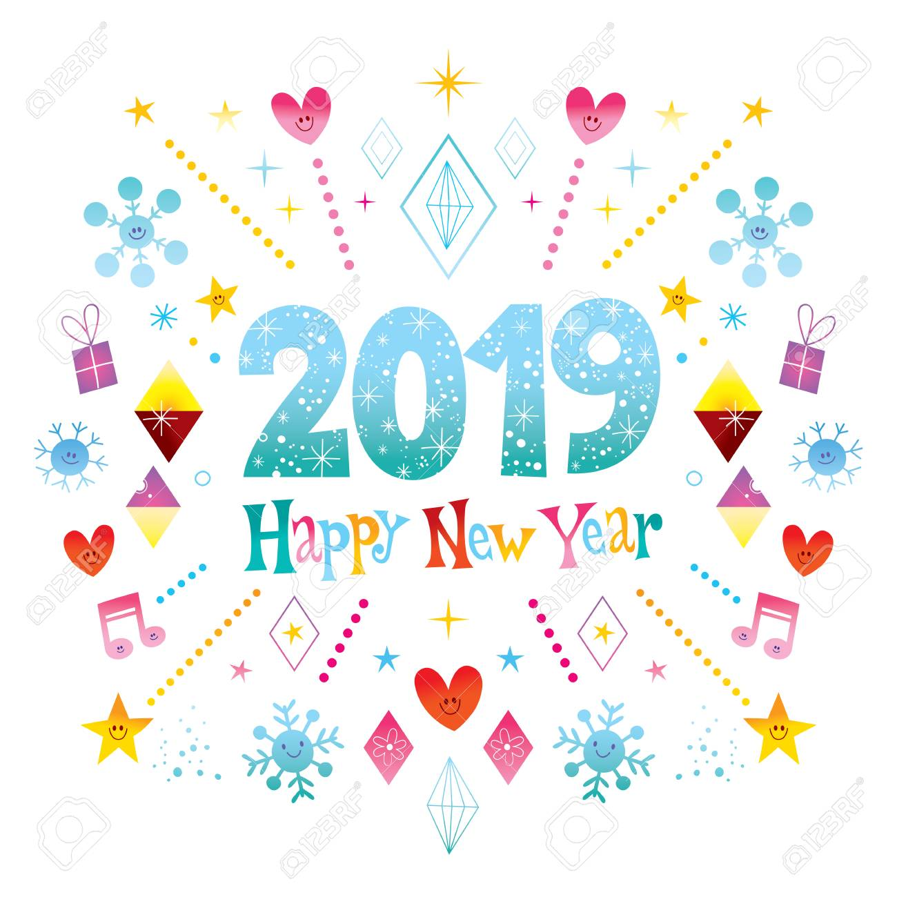 Happy New Year 2019 greeting card.