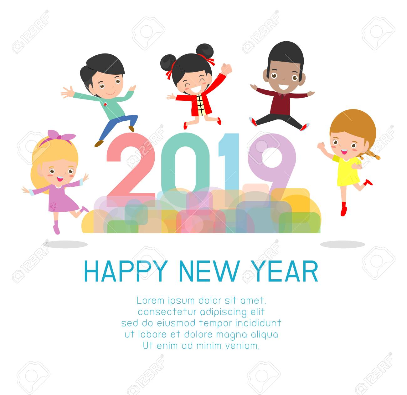 2019 Happy New Year design card with kids on background. happy...