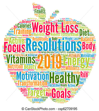 Resolutions 2019 health word cloud.