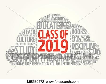 CLASS OF 2019 word cloud collage Clipart.