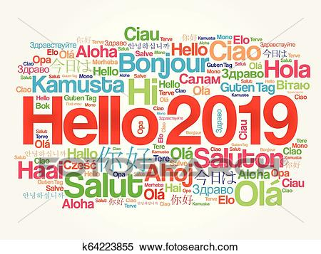 Hello 2019 word cloud in different languages Clipart.