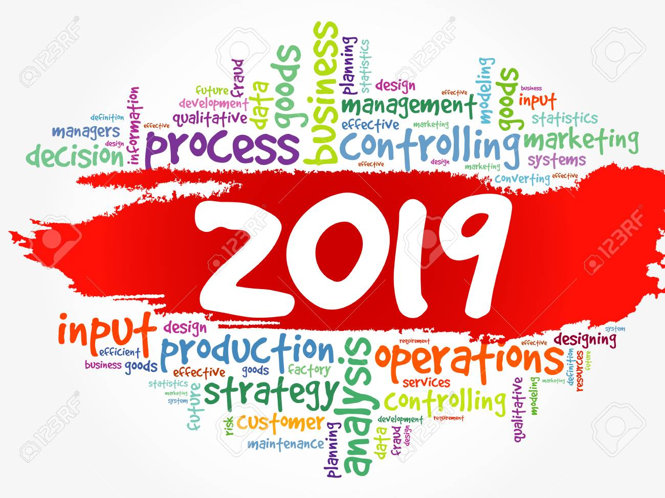 2019 goals plan, project word cloud, business concept background.
