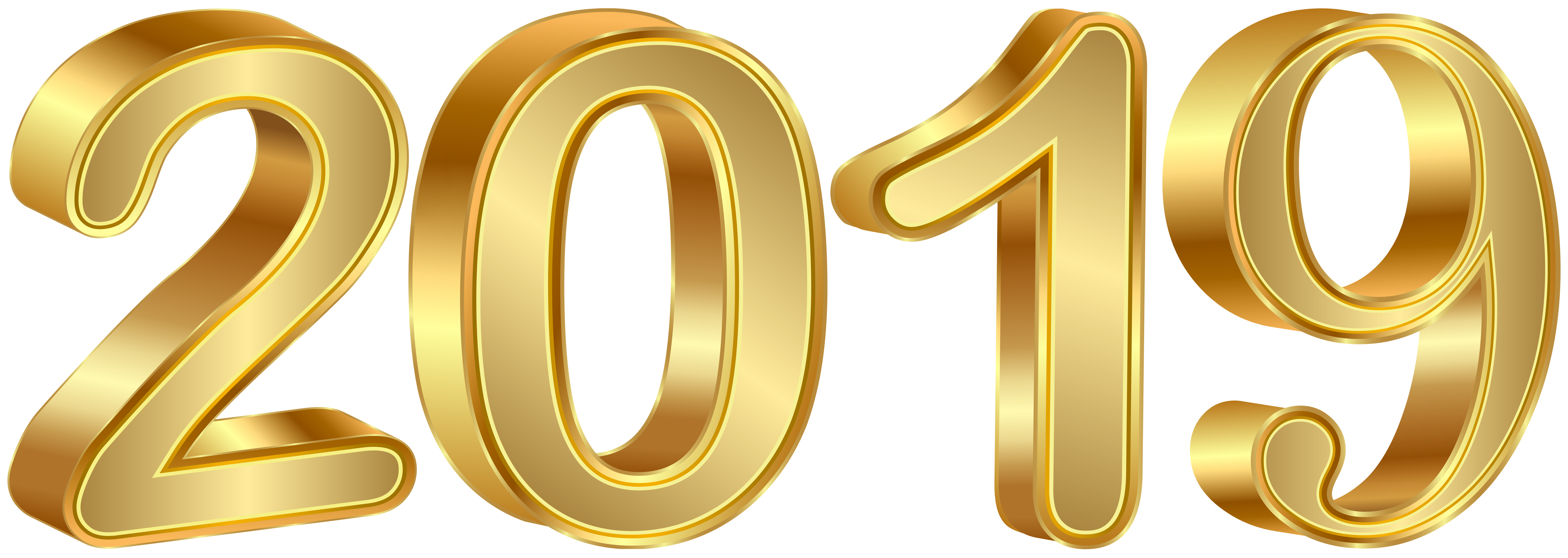 2019 Gold PNG Clipart Image.