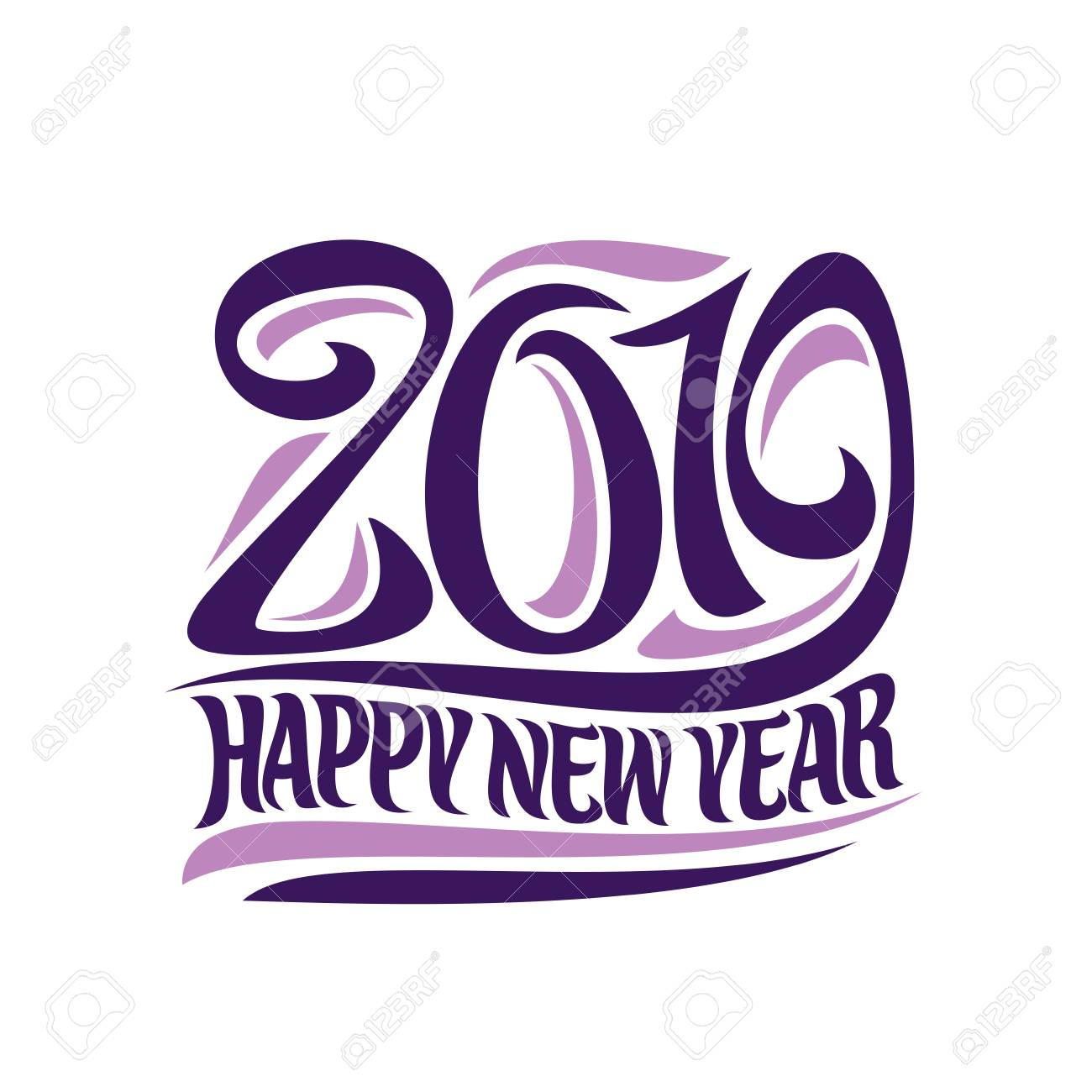 Vector poster for 2019 New Year, purple decorative number and...