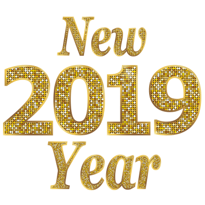Happy New Year 2019 Gold Letters transparent PNG.