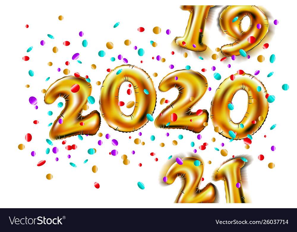Shiny golden balloons numbers 2019 2020 2021 new.