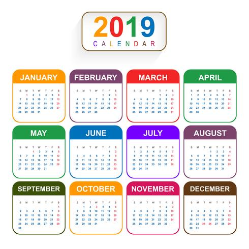 Year 2019, Beautiful Calendar Creative Design.