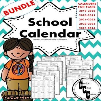 School Calendar Bundle (Teacher and student version) Back to.