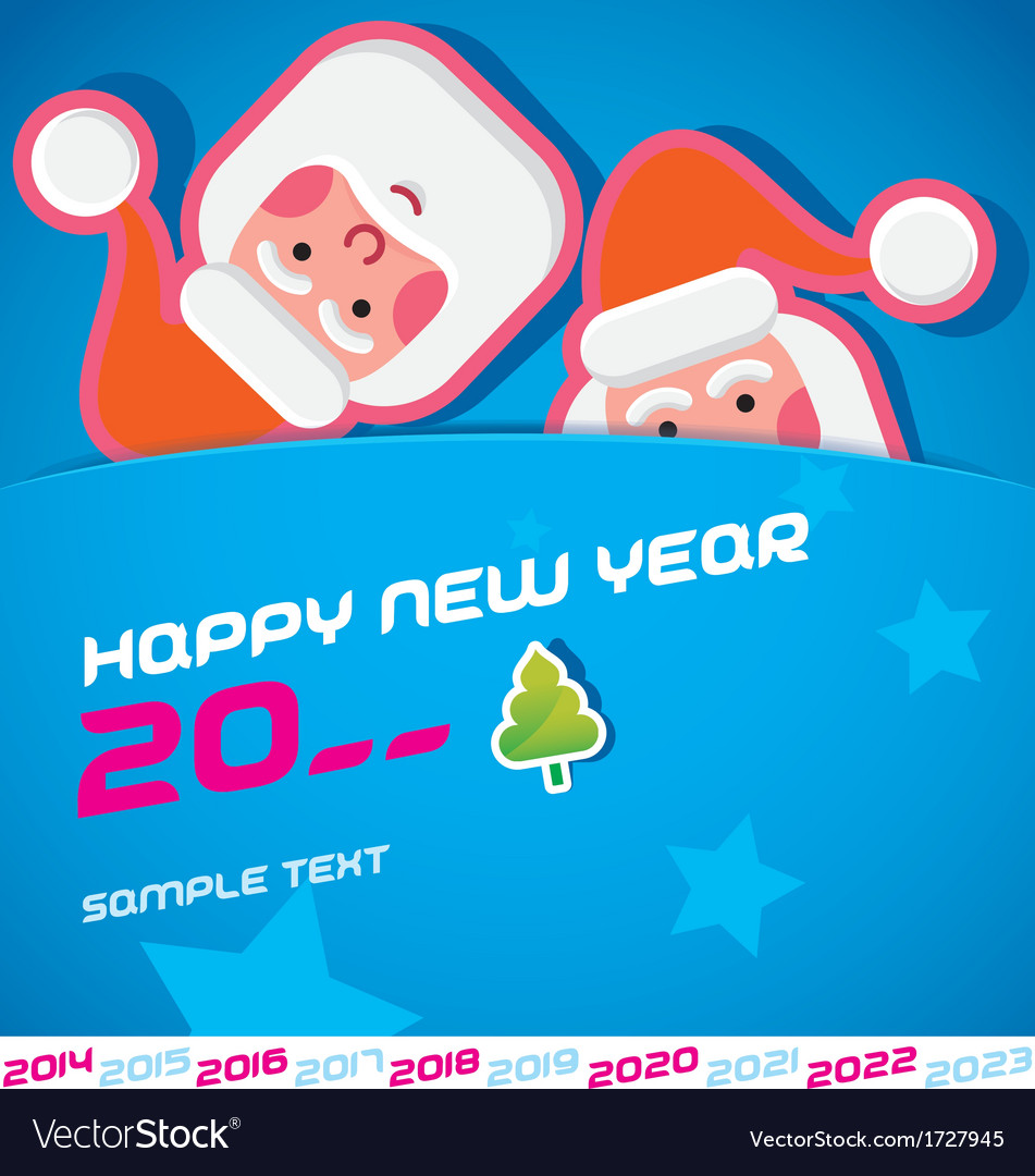 Merry Christmas Santa Claus New Year Card.