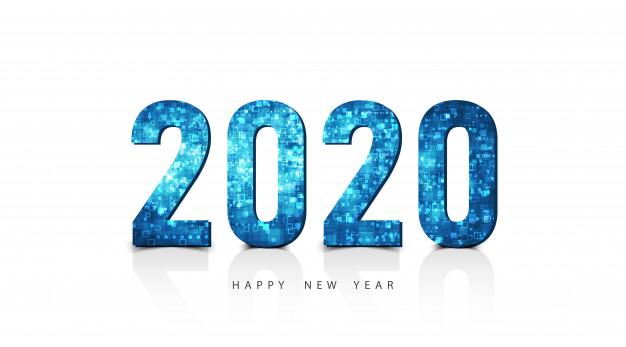 Happy new year 2020 logo text Vector.