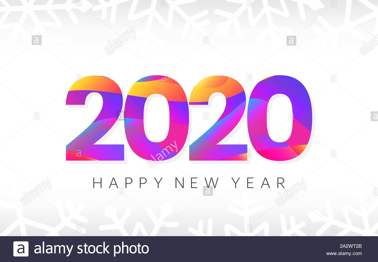 Happy New Year banner. 2020 logo text. Creative card with.