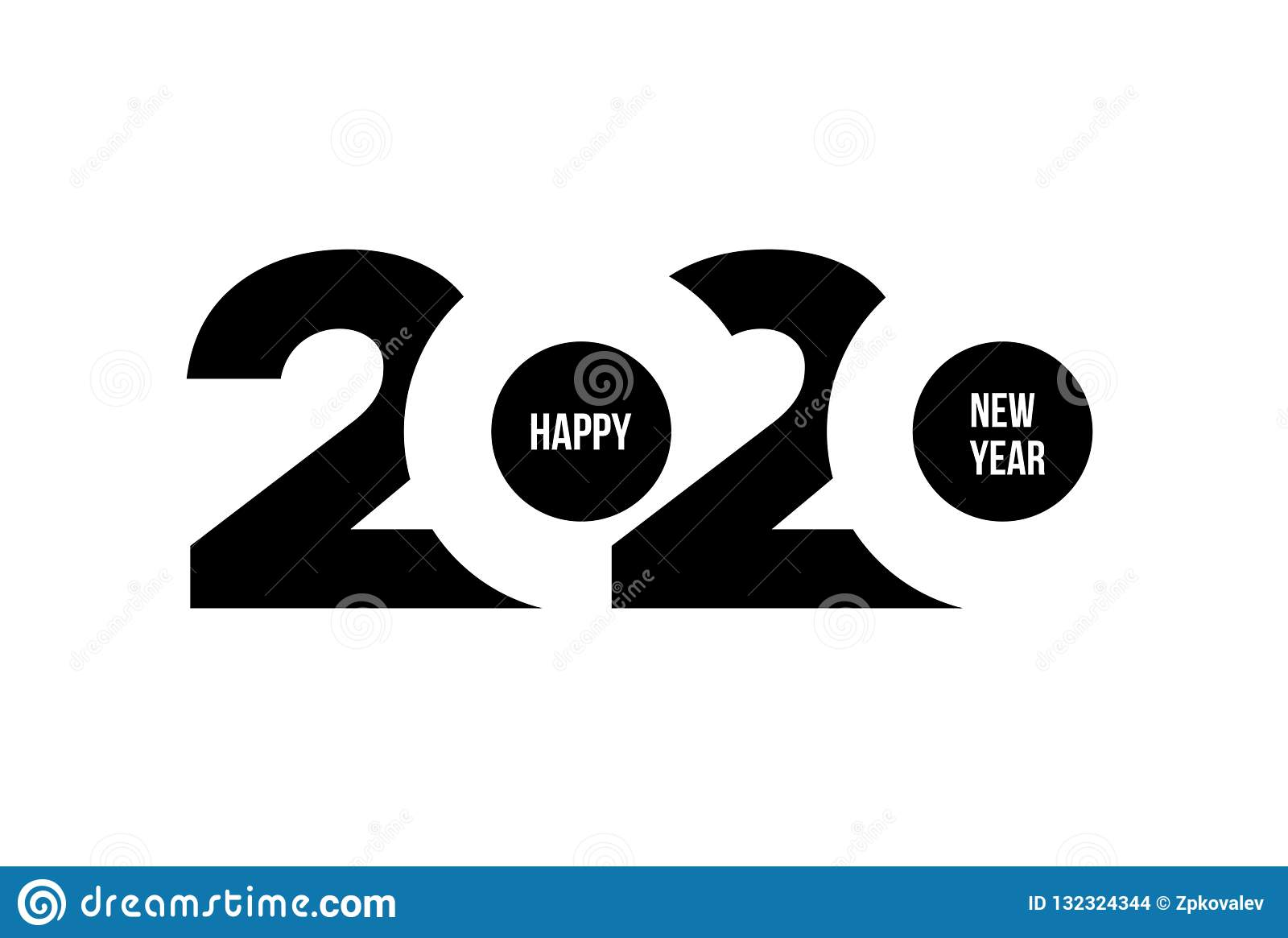 Happy New Year 2020 Logo Text Design. Cover Of Business.
