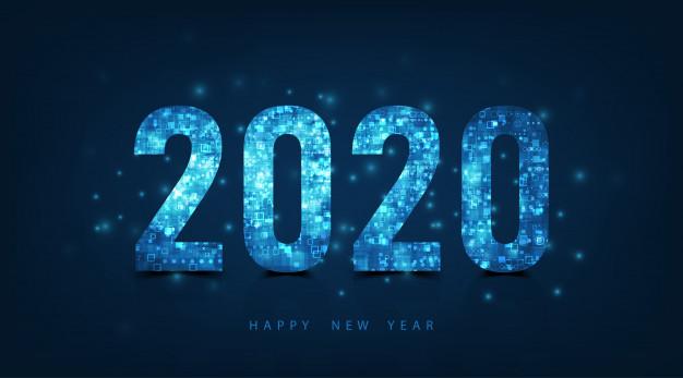 Happy new year 2020 logo text design. vector luxury text.