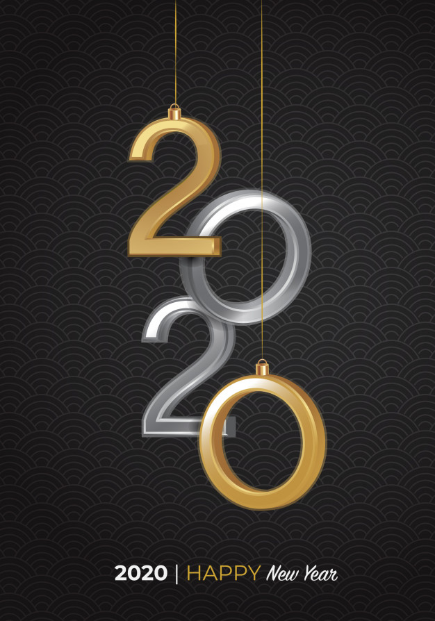 2020 happy new year 3d logo Vector.