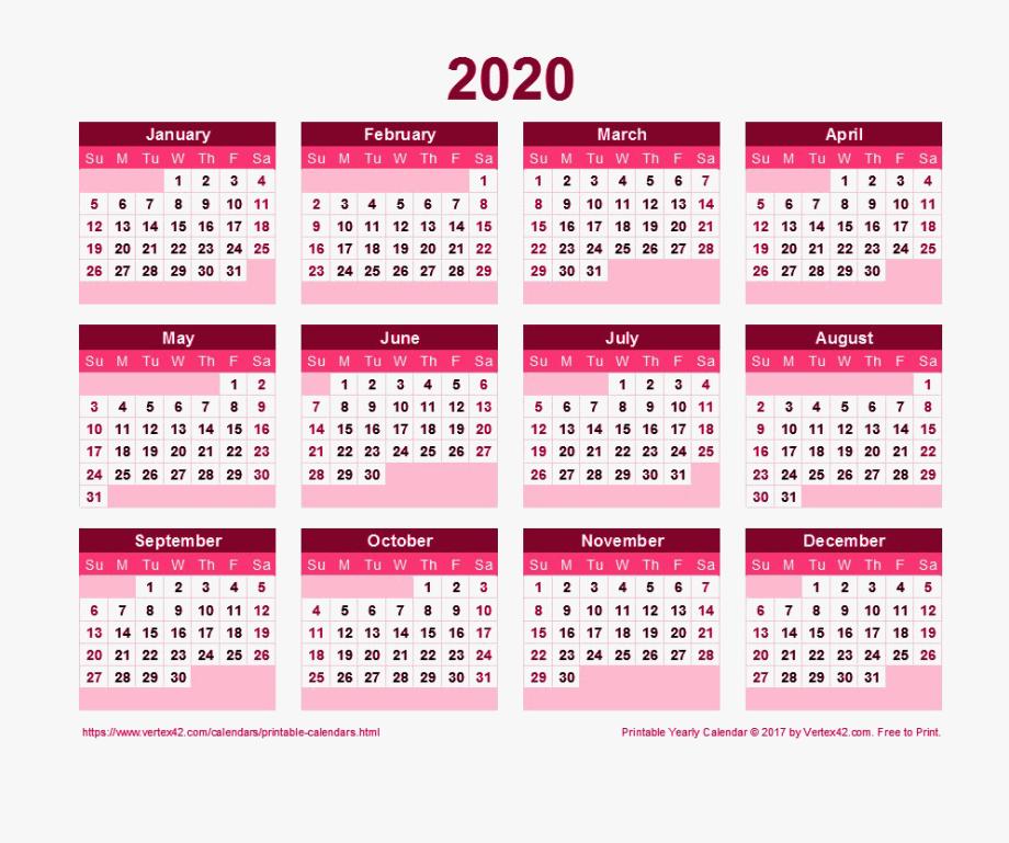 2020 Calendar Transparent.