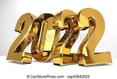 2022 gold symbol 3d render.