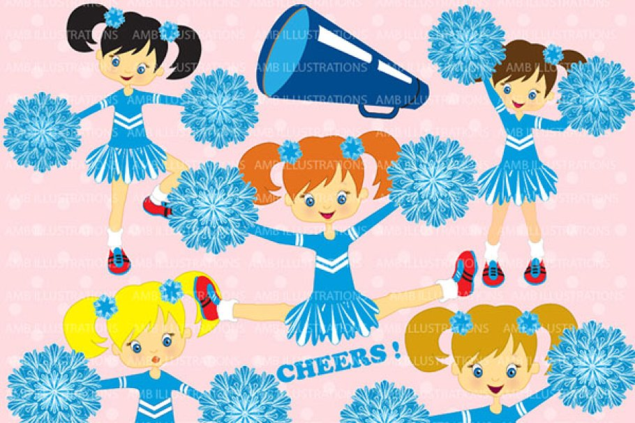 Blue cheerleaders clipart AMB.