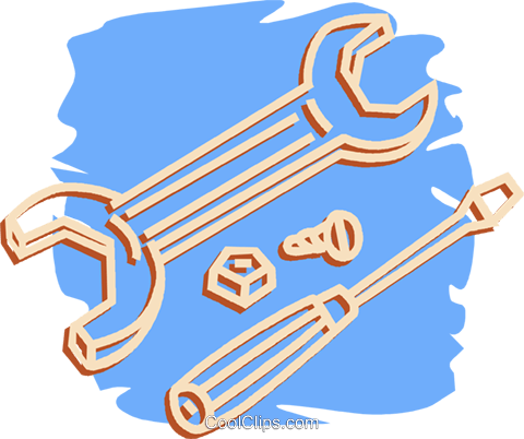 wrench, and screwdriver Royalty Free Vector Clip Art.