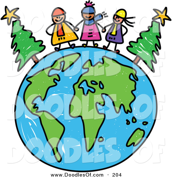 Vector Clipart of a Childs Sketch of Happy Winter Children.