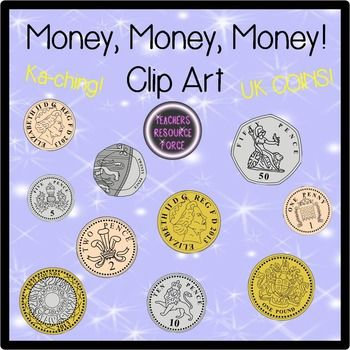 British UK coins clip art: 1p, 2p, 5p, 10p, 20p, 50p, £1, £2.
