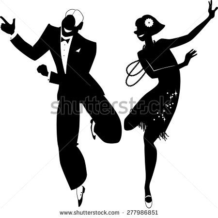 Black vector silhouette of a couple dressed in 1920s fashion.