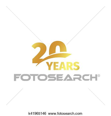 Isolated abstract golden 20th anniversary logo on white background. 20  number logotype. Twenty years jubilee celebration icon. Twentieth birthday.