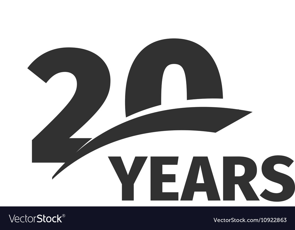 Isolated abstract black 20th anniversary logo on.
