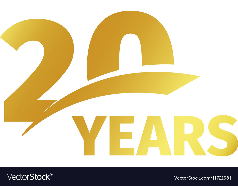 Isolated abstract golden 20th anniversary logo on.