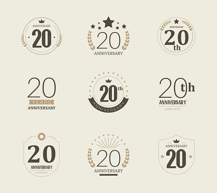 Twenty years anniversary logo. 20th anniversary vintage.