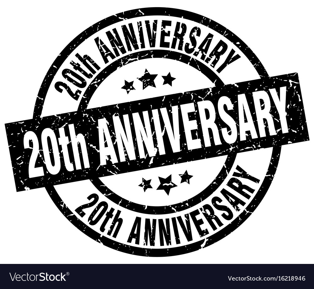 20th anniversary round grunge black stamp.