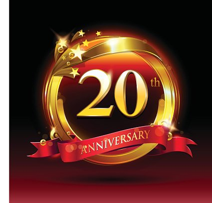 20th golden anniversary logo with ring and red ribbon.