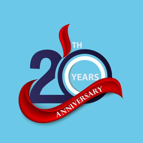 20th anniversary sign and logo celebration symbol with red.
