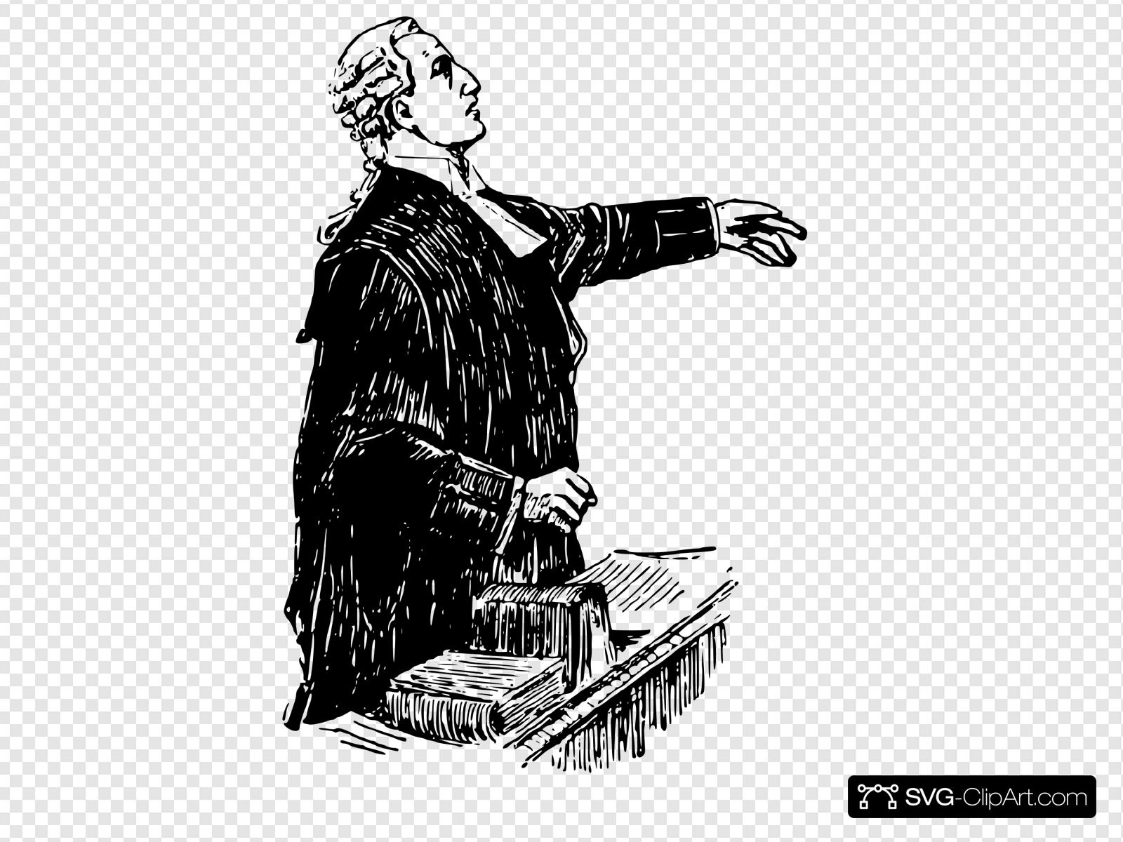 English Lawyer, Early 20th Century. Clip art, Icon and SVG.