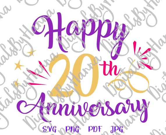 Happy 20th Anniversary SVG Files for Cricut Gift Him Her Lettering  Invitation Sign.
