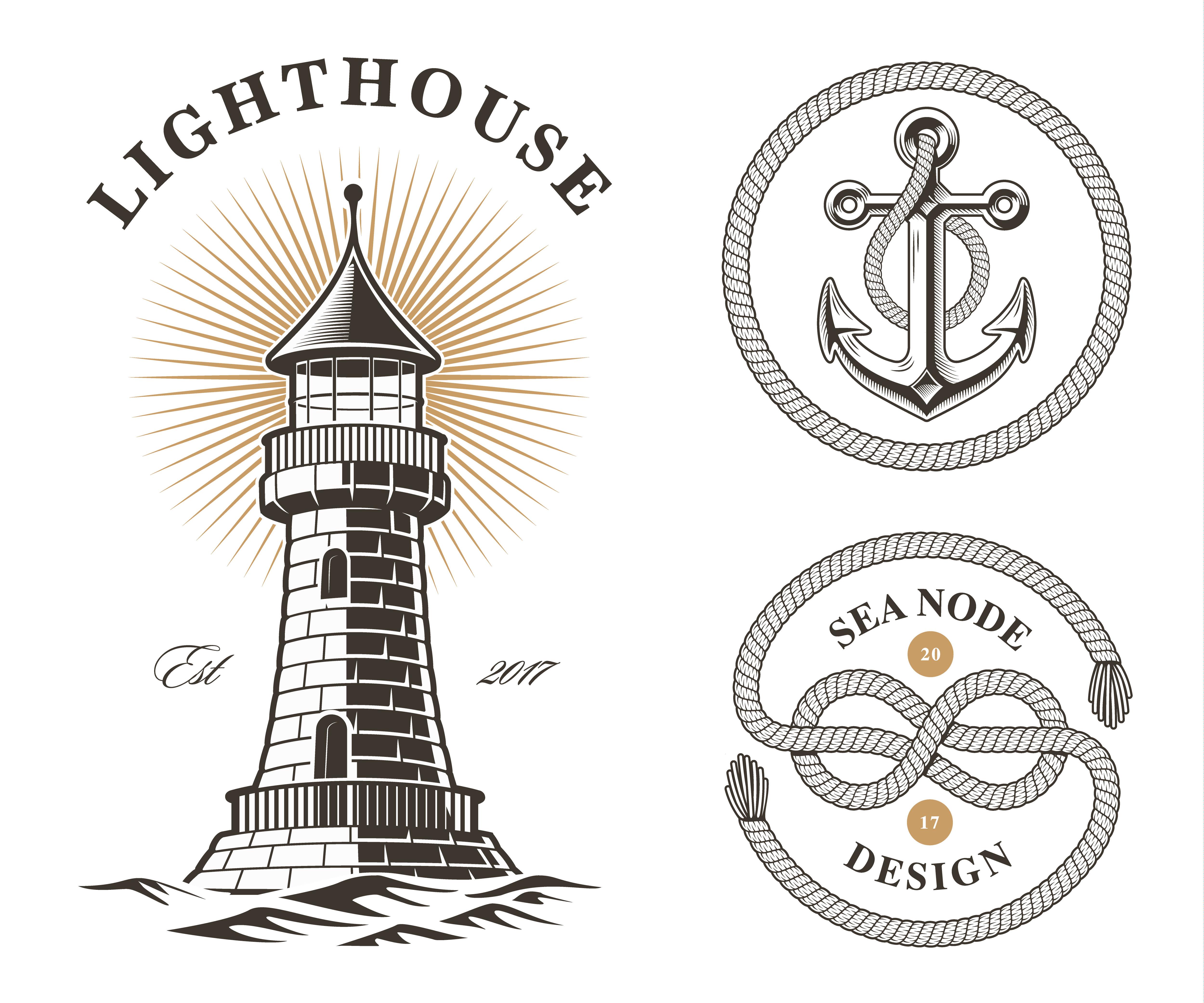set of vintage sea design elements.