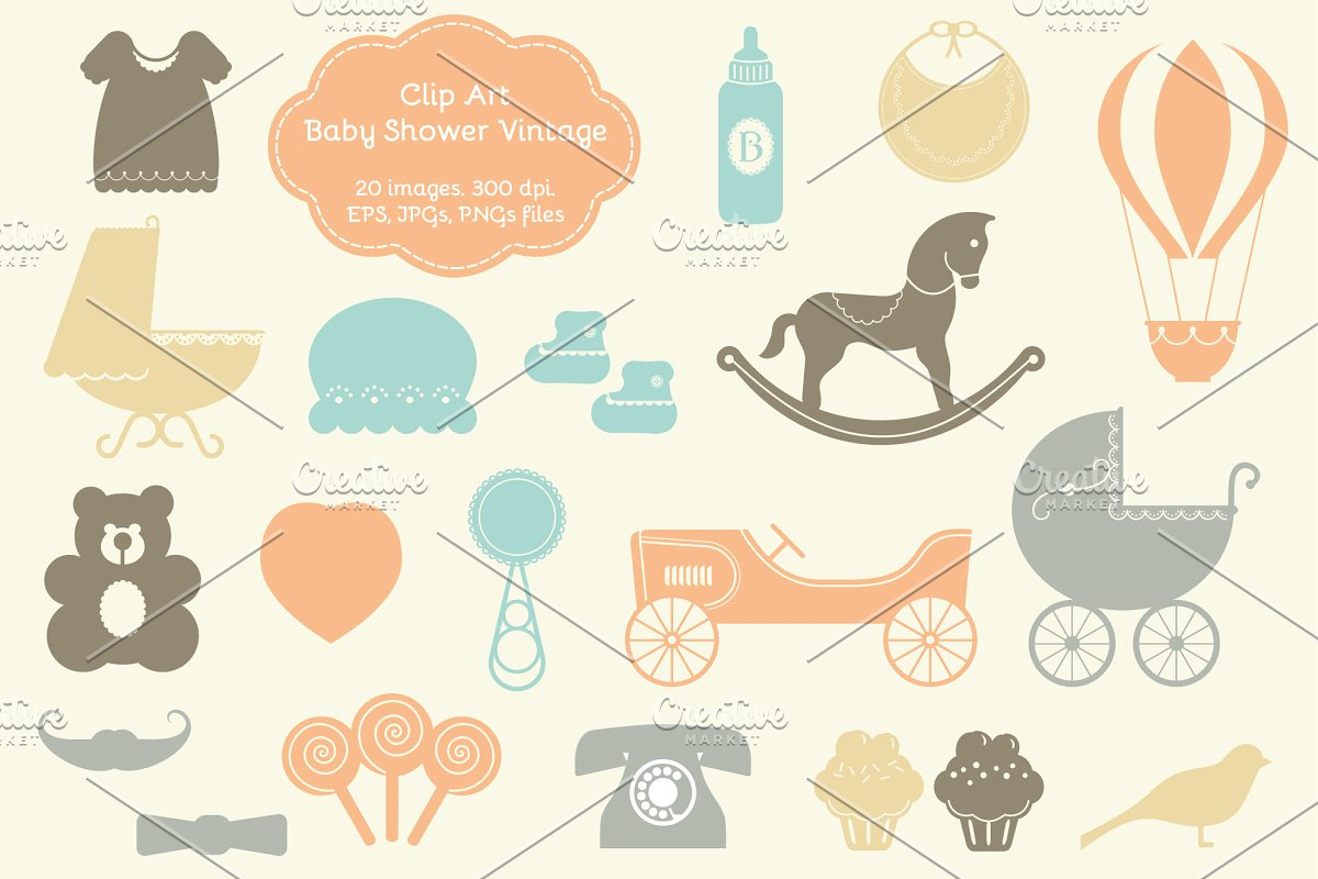 20 Baby Shower Vintage Elements ~ Illustrations ~ Creative.