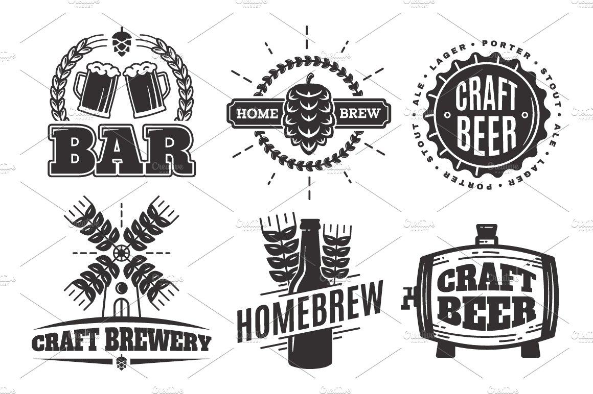 Craft beer vintage logos.