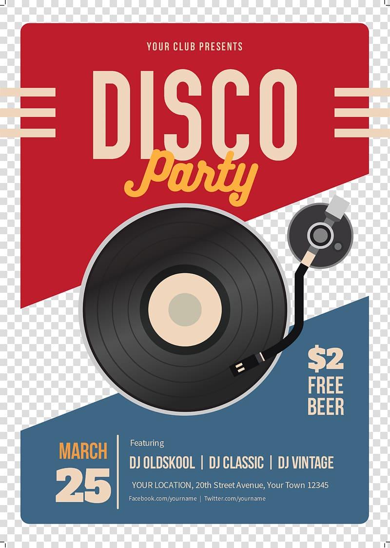 Disco Party logo, Poster Music Nightclub Concert, Vintage.