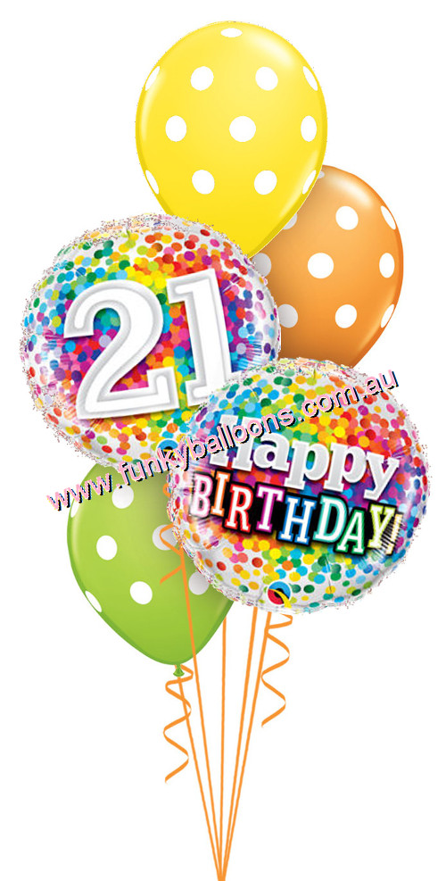 21st Birthday Balloons Clipart.