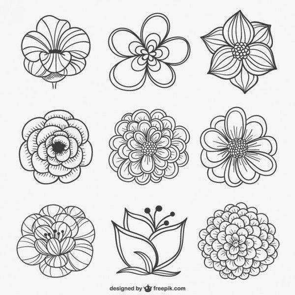 21 Black And White Flowers Clipart Vectors.